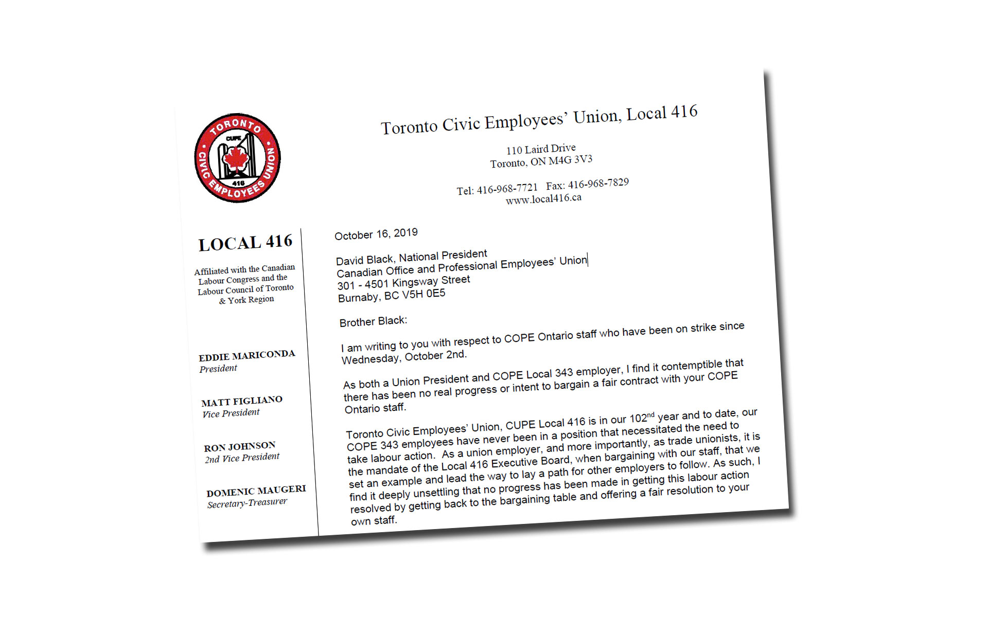 CUPE416Letter